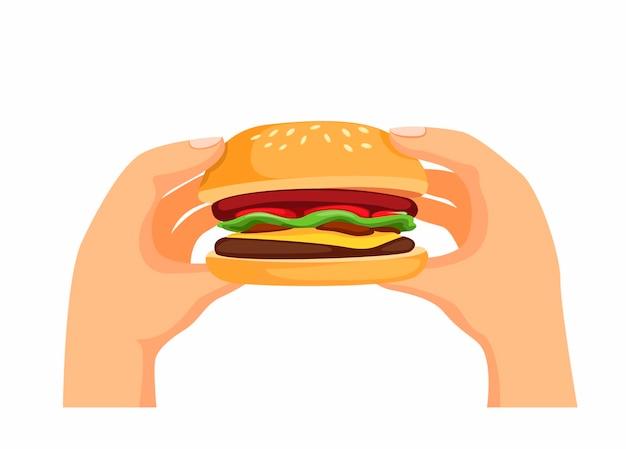 Mão segurando o hambúrguer fresco. símbolo do menu de fast-food com as mãos prontas para comer, ilustração dos desenhos animados sobre fundo branco