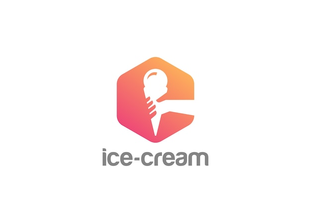 Mão segurando o ícone do logotipo do sorvete