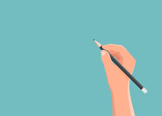 Mão segurando o lápis com espaços em branco de fundo para o texto.