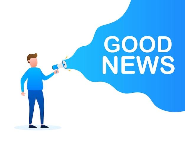 Mão segurando o megafone com boas notícias. banner do megafone. designer de web. ilustração de estoque vetorial