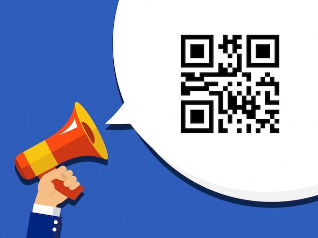 Mão segurando o megafone com código qr codificado informações de venda no discurso de bolha. ícone no fundo da pop art