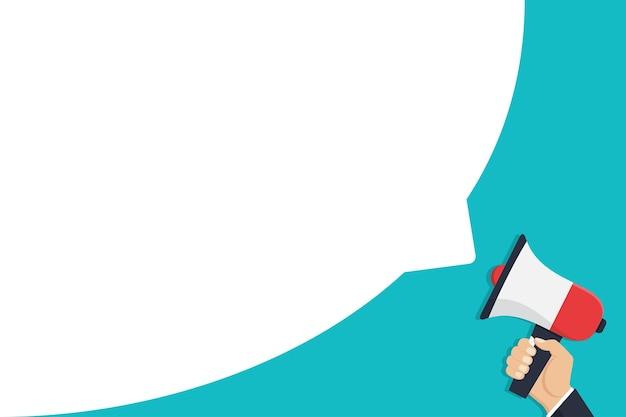 Mão segurando o megafone com discurso de bolha em um design plano
