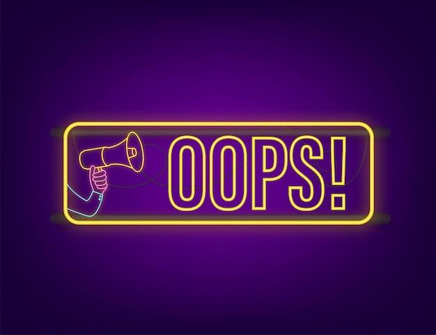 Mão segurando o megafone com oops. banner do megafone. designer de web. ilustração em vetor das ações.