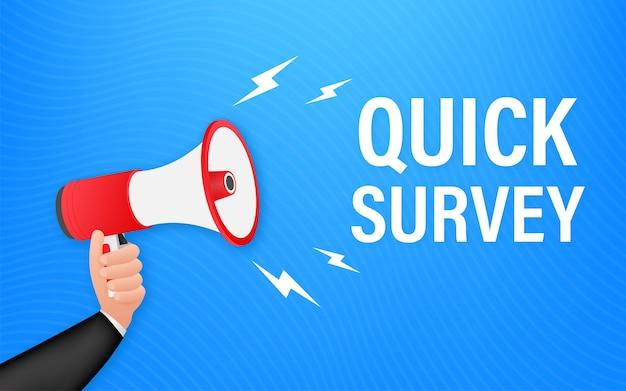 Mão segurando o megafone com pesquisa rápida. banner do megafone. designer de web. ilustração em vetor das ações.