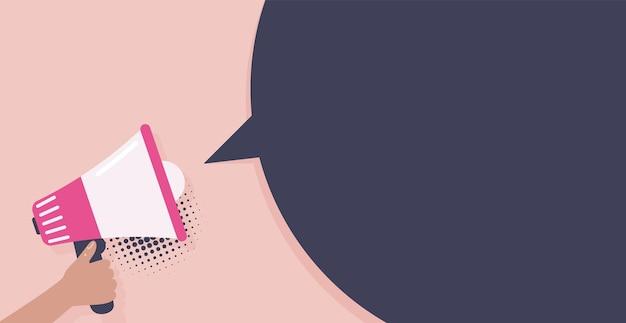 Mão segurando o megafone discurso bolha mídia social marketing conceito vetor