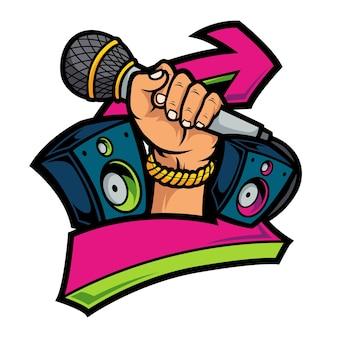 Mão segurando o microfone hiphop