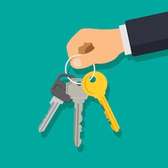 Mão segurando o molho de chaves. conceito de aluguel ou venda de apartamento de casa. ilustração em um estilo apartamento moderno.