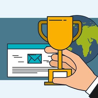 Mão segurando o mundo de marketing digital de e-mail de troféu