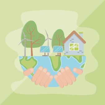 Mão segurando o planeta e economizar energia design