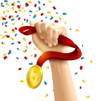 Mão segurando o prêmio de medalha de vencedores