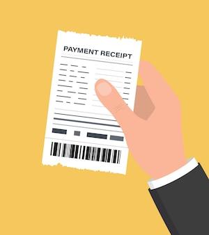 Mão segurando o recibo em branco. verificação financeira de papel de ilustração vetorial. ícone de recibo