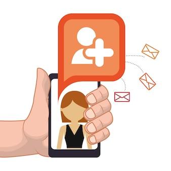 Mão segurando o smartphone adicionar pessoa amigo e-mail de contato