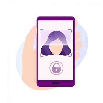 Mão segurando o smartphone com aplicativo de digitalização