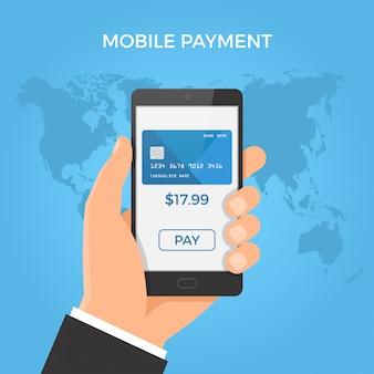 Mão segurando o smartphone com cartão de crédito e botão na tela.