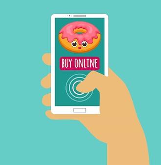 Mão segurando o smartphone com comprar on-line. compra pela internet. design plano