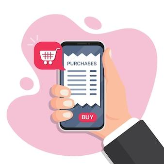 Mão segurando o smartphone com compras online em um design plano. pagamento por smartphone para compras. pagamento online