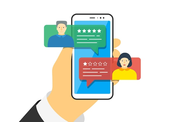 Mão segurando o smartphone com discursos de bolha de app de feedback e avatares na tela. reveja a classificação de cinco estrelas com boa e má taxa. ilustração vetorial de qualidade