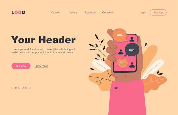 Mão segurando o smartphone com interface de bate-papo online, mensagens enviadas e recebidas na tela. página de destino. para messenger, comunicação, conceito de aplicativo de bate-papo