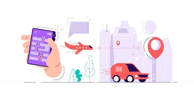 Mão segurando o smartphone com mapa na tela, vários tipos de transporte e marca de localização. rastreamento on-line de entrega de pedidos. ilustração em vetor colorido em estilo cartoon plana