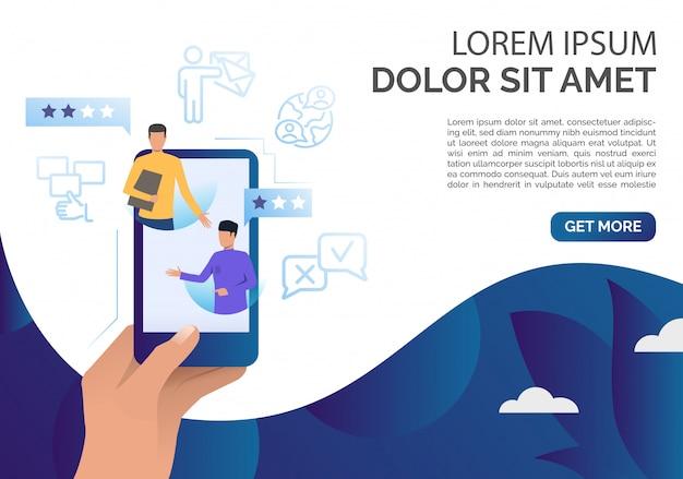Mão segurando o smartphone com modelo de comentários do cliente