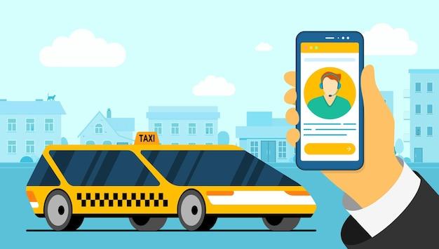 Mão segurando o smartphone com o avatar do operador de táxi e carro amarelo moderno na estrada da cidade. aplicativo de serviço de pedido de despachante de entrega online. obter aplicativo de táxi em ilustração vetorial plana de cidade