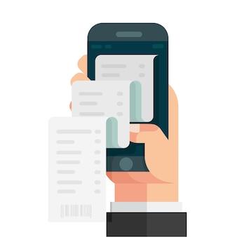 Mão segurando o smartphone com o papel da fatura