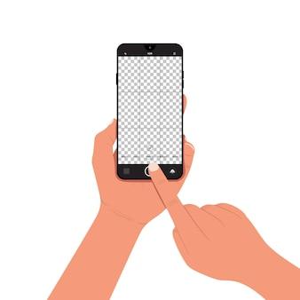 Mão segurando o smartphone com o visor da câmera aberto na tela