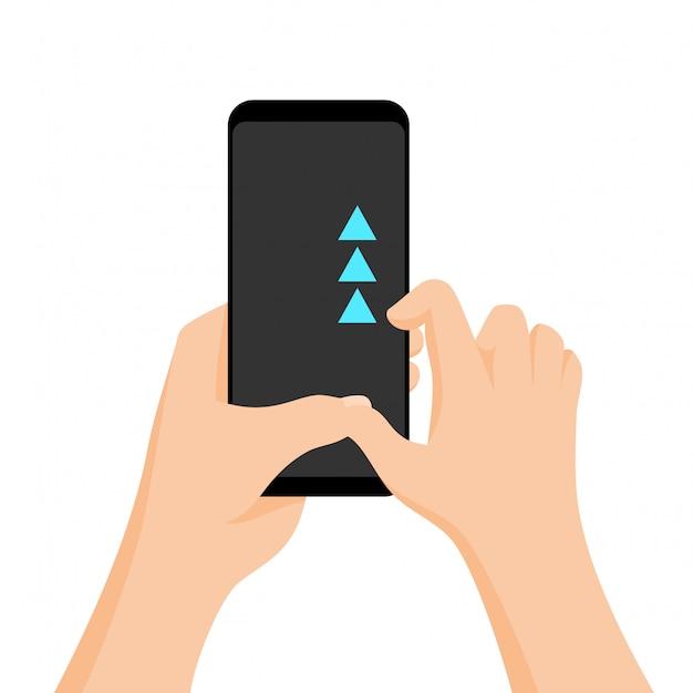 Mão segurando o smartphone com tutorial rápido na tela. gesto da tela de toque.