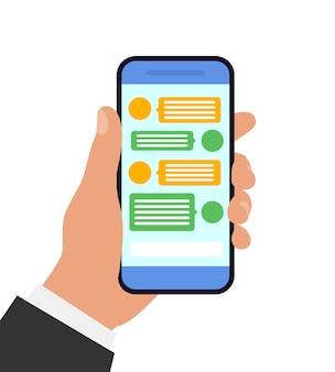Mão segurando o smartphone. conceito de bate-papo e mensagens. ilustração. design plano.