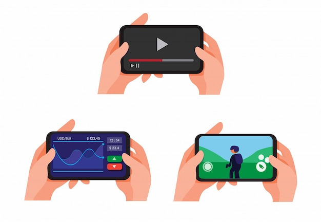 Mão segurando o smartphone jogar e assistir a streaming de vídeo on-line, aplicativos de ações do mercado e jogar coleção de jogos de atirador definir ilustração vector