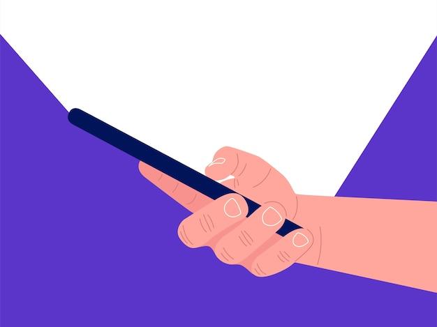 Mão segurando o smartphone preto, tela tocante. luz branca do smartphone.