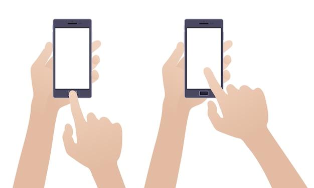 Mão segurando o smartphone preto, tocando a tela branca em branco contra o fundo branco