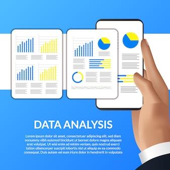 Mão segurando o smartphone smartphone, gráfico, estatística para análise de dados