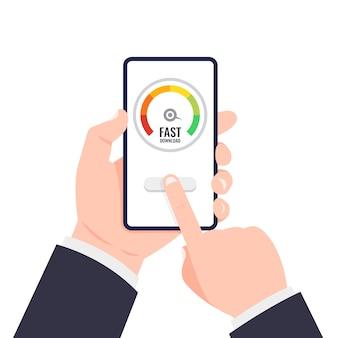 Mão segurando o smartphone. teste do velocímetro mostrando um bom tempo de velocidade de carregamento de página.