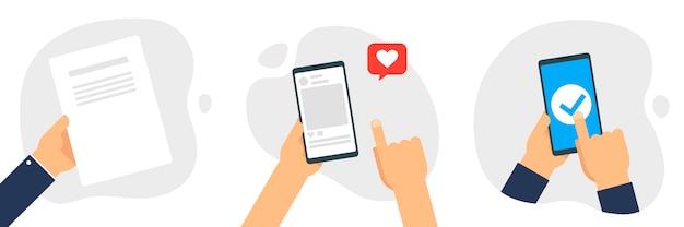 Mão segurando o smartphone, tocando o conjunto de tela. usando telefone móvel esperto, conceito de design plano.
