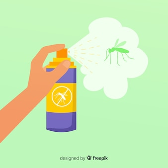 Mão segurando o spray de mosquito em design plano