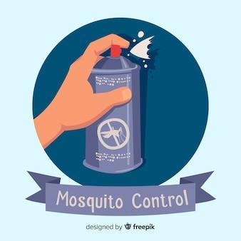 Mão segurando o spray de mosquito em estilo simples
