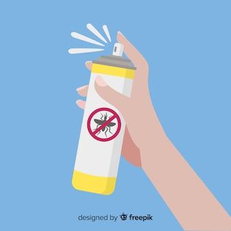 Mão segurando o spray de mosquito