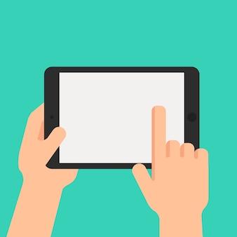 Mão segurando o tablet e apontando na tela