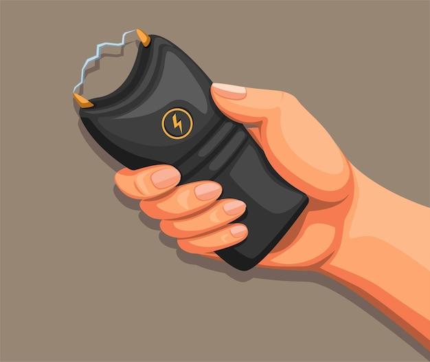 Mão segurando o taser ou arma de choque. arma