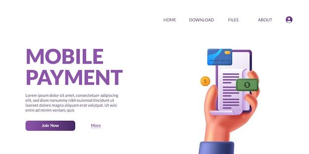Mão segurando o telefone 3d e a transação de fatura para o conceito de ilustração de atividade sem dinheiro de sociedade sem dinheiro de pagamento móvel