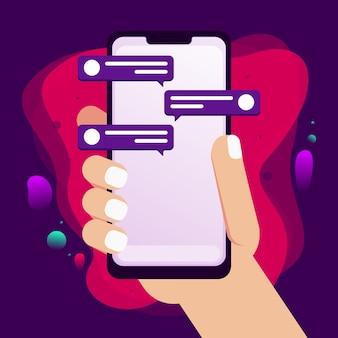 Mão segurando o telefone com design de bolha do discurso