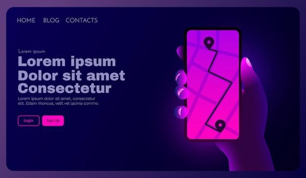 Mão segurando o telefone com mapa de navegação e rastreamento por gps móvel