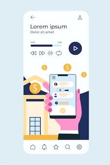 Mão segurando o telefone com o aplicativo bancário
