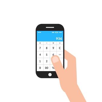 Mão segurando o telefone com o aplicativo calculadora