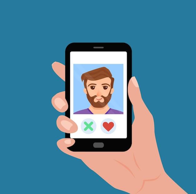 Mão segurando o telefone com o cara na tela
