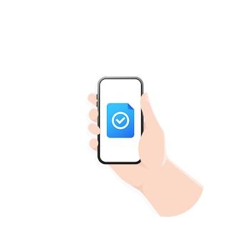 Mão segurando o telefone com o documento enviado ou recebido. documento com marca de seleção. ilustração.