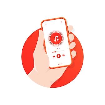 Mão segurando o telefone com tela do reprodutor de mídia de áudio