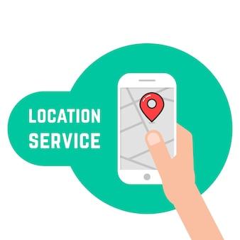 Mão segurando o telefone como serviço de localização. conceito de cartografia, mapeamento, geolocalização, trilha, tráfego, viagem de seleção. estilo plano tendência logotipo moderno design gráfico ilustração vetorial no fundo branco
