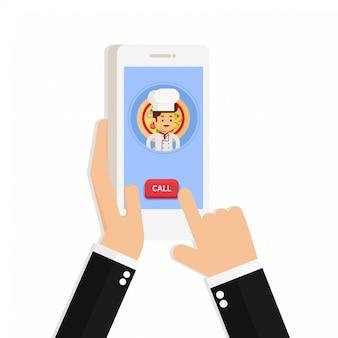 Mão segurando o telefone inteligente móvel com entrega de app